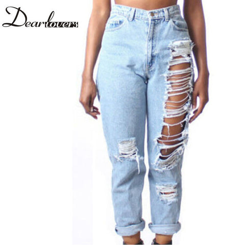 Hot Plus Size women clothing High Waist Ripped jeans boyfriend for women LC78616 Fashion Destroyed Denim pants - Hespirides Gifts - 1