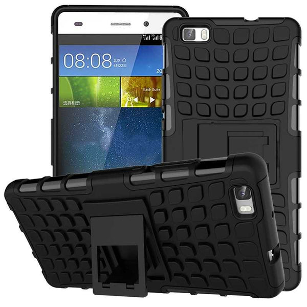 Huawei P8 Lite Case TPU & PC Dual Armor Cover with Stand Holder Hard Silicone Armor Cover Shock Proof Anti-Skid Combo Back Case - Hespirides Gifts - 5