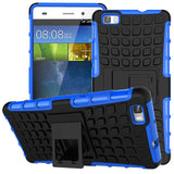 Huawei P8 Lite Case TPU & PC Dual Armor Cover with Stand Holder Hard Silicone Armor Cover Shock Proof Anti-Skid Combo Back Case - Hespirides Gifts - 4