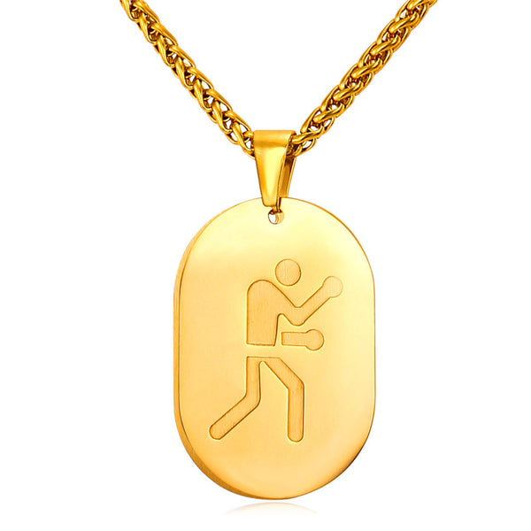 U7 New Necklace Women Lucky Jewelry Simple Strokes Of Olympic Boxing Game Sporty Gold Plated Dog Tags Necklace For Men P843 - Hespirides Gifts - 3