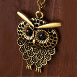 Vintage Women Owl Pendant Long Sweater Chain Jewelry Golden Antique Silver Bronze Charm fashion - Hespirides Gifts - 4