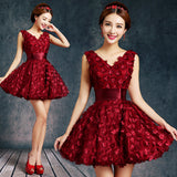 Bride Evening Dress Winter Banquet Red Short Design Formal Dress Slim Female Homecoming Dresses - Hespirides Gifts - 1
