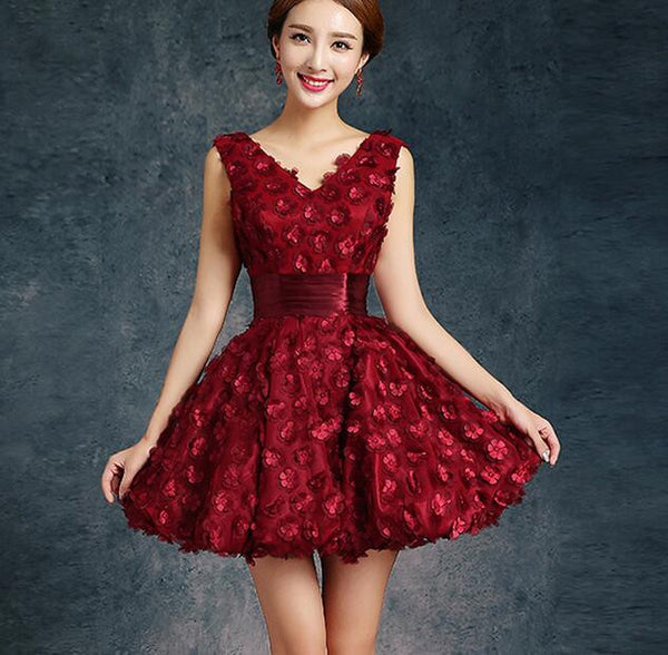 Bride Evening Dress Winter Banquet Red Short Design Formal Dress Slim Female Homecoming Dresses - Hespirides Gifts - 2