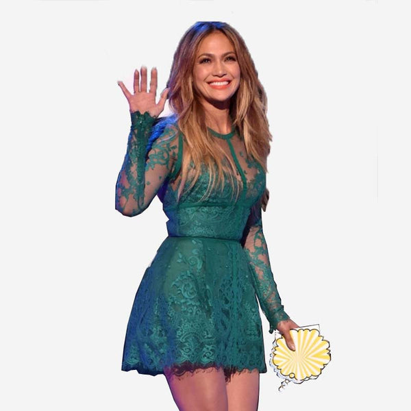 Jennifer Lopez Red Carpet Dress Teen Choice Awards Green Short Lace Celebrity Dresses Sheer Tulle Long Sleeve Paty Dresses - Hespirides Gifts
