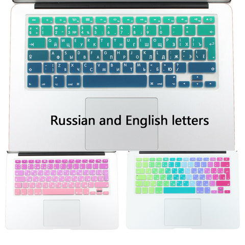 "Silicone EU/UK Russian alphabet Gradient Colors Keyboard Cover Stickers Protector for MacBook Air 13"" MacBook Pro 13"" 15"" Retina - Hespirides Gifts - 1"