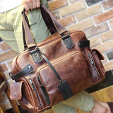 Men's real Crazy Horse Leather Travel Bags Luxury Style Men'S Messenger Bag Retro Large Capacity Men Bags Fashion shoulder Bag - Hespirides Gifts - 2