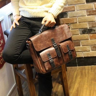 New Retro man messenger bag handbag Casual large capacity bag shoulder bag Briefcase tide PU Leather bolsas femininas - Hespirides Gifts