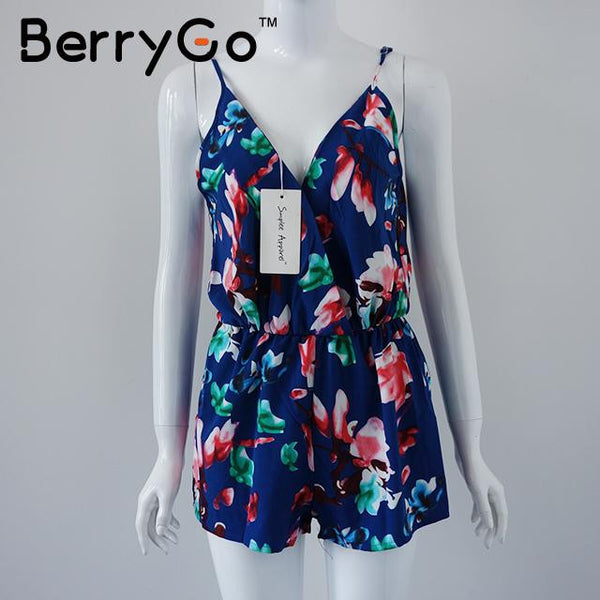 New style Summer women floral print sexy short jumpsuit Strap backless playsuit Deep v neck beach overalls - Hespirides Gifts - 2