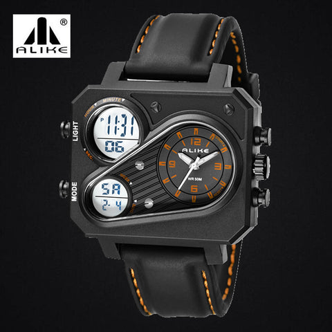 New Men luxury brand Alike quartz watch men steel wristwatches dive 30m Fashion sport watch relogio masculino - Hespirides Gifts - 1