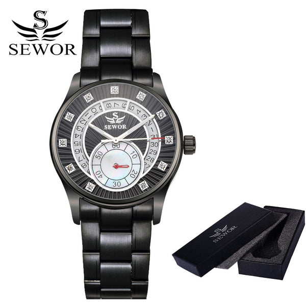 SEWOR Top Brand Men Skeleton Mechanical Men Fashion Stainless Steel Watch Automatic Watch Classic Wristwatches For Men Dress - Hespirides Gifts - 5