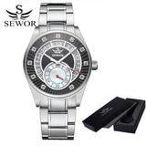 SEWOR Top Brand Men Skeleton Mechanical Men Fashion Stainless Steel Watch Automatic Watch Classic Wristwatches For Men Dress - Hespirides Gifts - 3