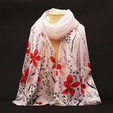 New Fashion Soft Chiffon Silk Scarf Women Flower Printed Cachecol Long Shawls and Scarves Wraps Echarpes Foulard Wholesale - Hespirides Gifts - 4