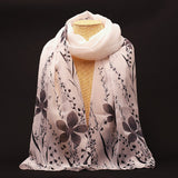New Fashion Soft Chiffon Silk Scarf Women Flower Printed Cachecol Long Shawls and Scarves Wraps Echarpes Foulard Wholesale - Hespirides Gifts - 2