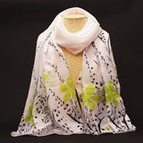 New Fashion Soft Chiffon Silk Scarf Women Flower Printed Cachecol Long Shawls and Scarves Wraps Echarpes Foulard Wholesale - Hespirides Gifts - 5