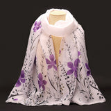 New Fashion Soft Chiffon Silk Scarf Women Flower Printed Cachecol Long Shawls and Scarves Wraps Echarpes Foulard Wholesale - Hespirides Gifts - 6