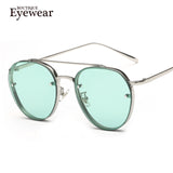 BOUTIQUE Women Round Double Beam Sunglasses Men Clear lens Vintage Glasses UV400 - Hespirides Gifts - 1