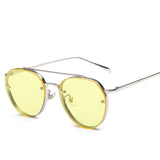 BOUTIQUE Women Round Double Beam Sunglasses Men Clear lens Vintage Glasses UV400