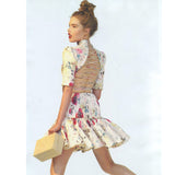 New Fashion Backless Sexy Dress Women's High Quality Beading Noble Cute Floral Print Pleated Dress - Hespirides Gifts - 2