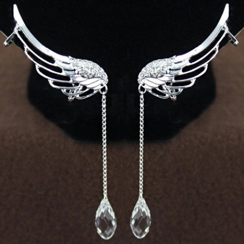 New Fashion Style High Quality Hot Sale Pair of Stylish Women's Rhinestone Wings Ear Clips Angel Wing Earrings For Women - Hespirides Gifts - 2