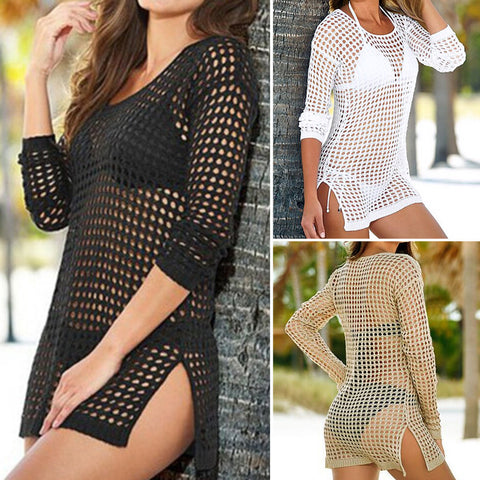 Summer Women Sexy Mesh Knitted Crochet Beach Tops T Shirts Swimsuit Cover Up Swimwear Bikini Wrap Bathing Suit - Hespirides Gifts - 1
