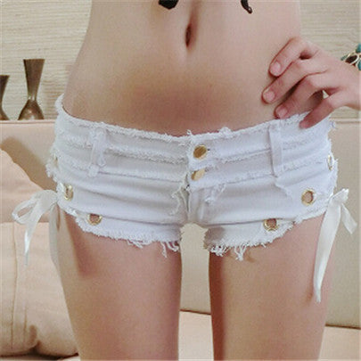 New Sexy Rose Red Denim Shorts Side Ribbons Ferrule Womens Low Waist Woman Big Size Tassel Jeans Girl Buttons Pantalones D044 - Hespirides Gifts - 4