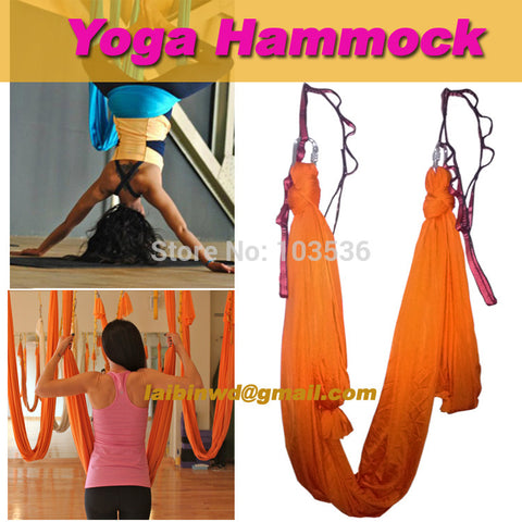 yoga Aerial flying Anti-gravity Hammock trainer workout 1pcs 4 meter hammock+1 pair carabiner +1 pair daisy chain shiping - Hespirides Gifts - 1