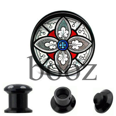fashion black acrylic ear plugs tunnles piercing gauges stretchers ear body jewelry - Hespirides Gifts - 2
