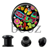 fashion black acrylic ear plugs tunnles piercing gauges stretchers ear body jewelry - Hespirides Gifts - 3