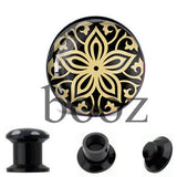 fashion black acrylic ear plugs tunnles piercing gauges stretchers ear body jewelry - Hespirides Gifts - 5