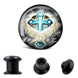 cross logo hot sell acrylic piercing body jewelry ear plug tunnels expander stretchers gauges AE-8023