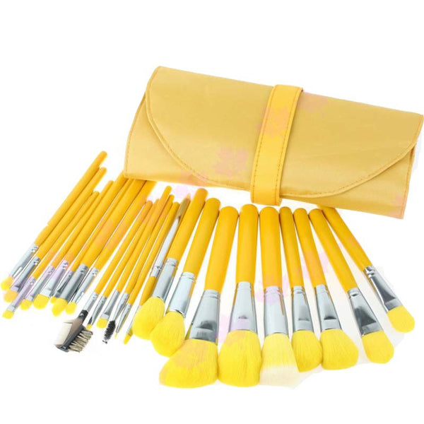 Newest face brush makeup 23 pcs set Cosmetic Facial Make up Brush Kit Makeup Brushes Set with yellow Leather Case - Hespirides Gifts