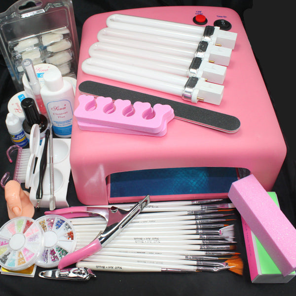 Pro 36W UV GEL Pink Lamp & 15 Brush 100pcs nail tips Nail Art Tool Kits #24 - Hespirides Gifts
