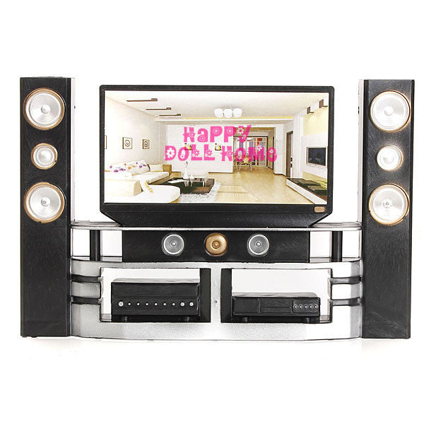 New Arrival Mini Hi-Fi 1:6 TV Home Theater Cabinet Set Combo For Barbie Doll Clothes Dress Accessories House Furniture Baby Toys - Hespirides Gifts