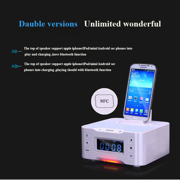 Portable Loudspeaker A9 Bluetooth Speaker NFC Dock Station for Apple Samsung Android ipod/touch/iphone 6 clock remote control - Hespirides Gifts