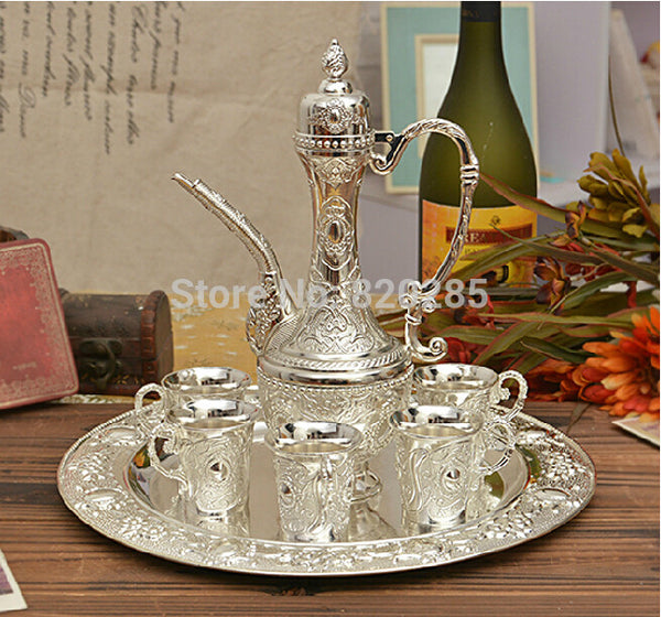 Sell fast Silver plated metal wine/milk/water/tea set/coffee set - Hespirides Gifts