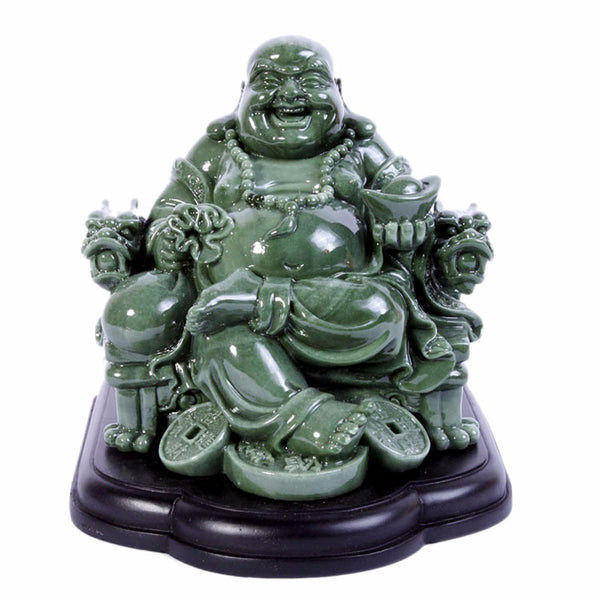 Feng Shui Big Laughing Buddha of Wealth/ Happiness Resin Statue - Hespirides Gifts