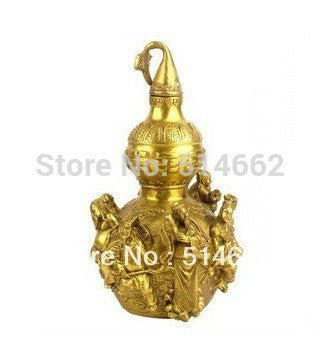 Brass Fen Shui Wu Lou Gourd With Three Dimensional Eight Immortals For Health Enhance Fengshui M1210 - Hespirides Gifts