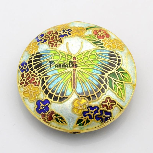 Handmade Cloisonne Beads, Flat Round with Butterfly, White, 41x13mm, Hole: 2mm - Hespirides Gifts