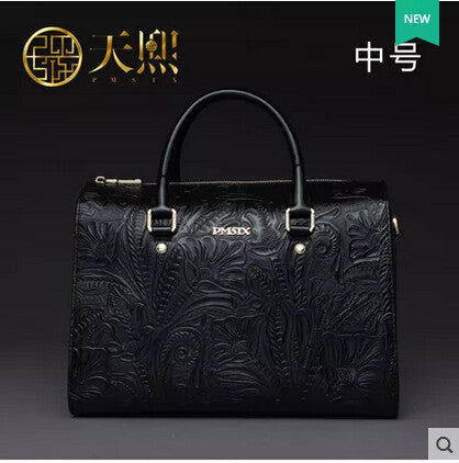 Top Quality genuine leather women bag famous brands fashion Retro Embossed women handbags shoulder messenger Boston bag - Hespirides Gifts - 3