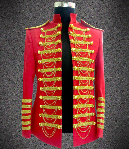 Dance Stage Wear Nightclub Blazer Fashion Casual Red Black Chain Male Slim Costume Clothes Men Singer Ds Performance Jacket - Hespirides Gifts