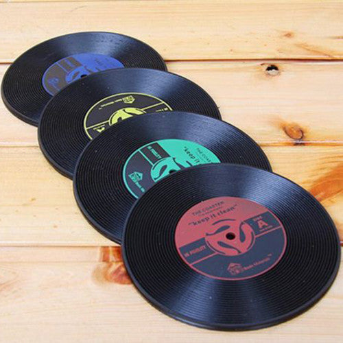 WSFS Wholesale 6pcs Cup Mats Vintage Vinyl Coasters CD Record Table Bar Drinks - Hespirides Gifts