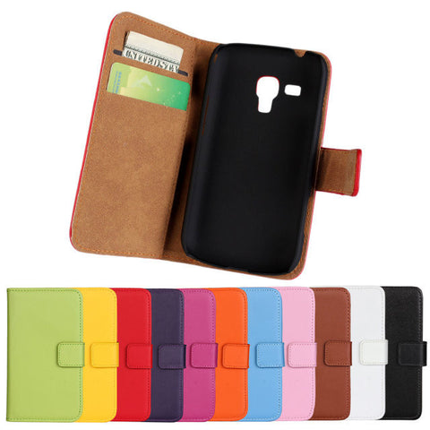 Genuine Leather Case Wallet Cover With Magnetic Buckle Luxury Full Card Flip Card Case For Samsung Galaxy Trend Plus S7580 PZ - Hespirides Gifts - 1