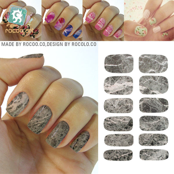 Second-generation trend water transfer Full cover nail sticker nail decals polish patch Grey Marble K5734 - Hespirides Gifts