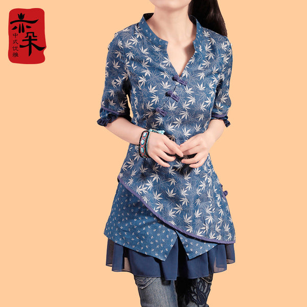 New Fashion National Trend Female One-piece Dress Plus Size Chinese Style Cotton And Linen Half Sleeve Dress - Hespirides Gifts - 2