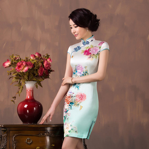 China Peony Women Silk Dress New Design Improved Vintage 100% Silk Cheongsam Dress Hot Sale National Trend Ladies Short Dress - Hespirides Gifts - 2