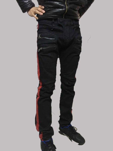 NWT BP Men's Stylish Fashion Stretch Slim Red Bend Washed Biker Black Jeans Size 28-40 (#947) - Hespirides Gifts