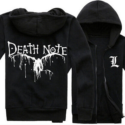 Japan Anime Death Note Black Zip Hoodie Men Boy Jacket Autumn Winter Warm Fashion Hoodies Coat Sweatshirts Plus Size - Hespirides Gifts