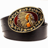Fashion wild men belts metal buckle retro big head belt Indian chief western style belt hip hop Street Dance exaggerated belt - Hespirides Gifts - 1