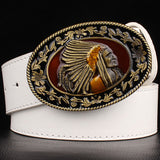Fashion wild men belts metal buckle retro big head belt Indian chief western style belt hip hop Street Dance exaggerated belt - Hespirides Gifts - 4