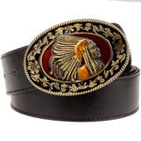Fashion wild men belts metal buckle retro big head belt Indian chief western style belt hip hop Street Dance exaggerated belt - Hespirides Gifts - 2